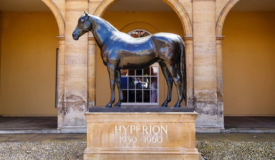 Bronze statue of Hyperion at the Jockey Club Rooms, Newkarket